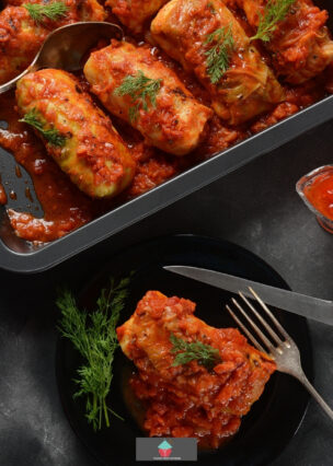 Cabbage Rolls, Golabki. A classic stuffed cabbage recipe, easy to make and also a vegetarian option in the recipe. A great tasting family meal.