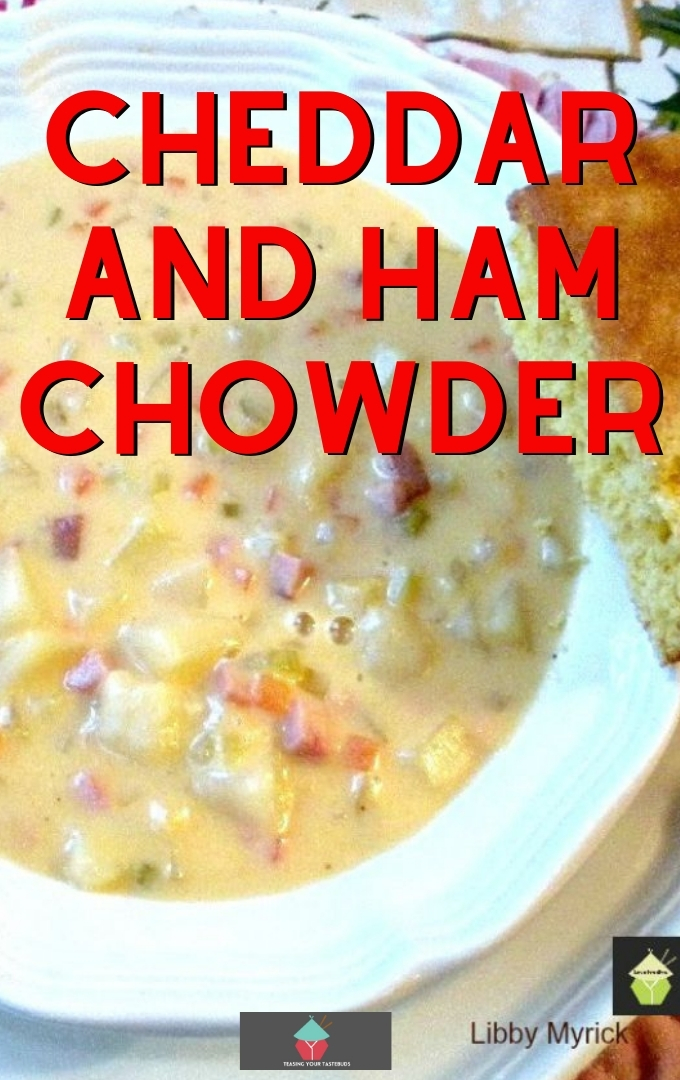 Cheddar and Ham Chowder. Cheddar and ham chowder is a slow cooked, rich, creamy soup made of ham, cheese, and potatoes. Homemade comfort food, ideal for a cold Winter's night. Delicious served with a chunk of cornbread.