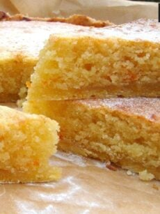 Orange Frangipane. A delicious tart, with a crisp pastry base and soft, cake filling. Perfect with a cup of tea or serve warm as a dessert with whipped cream