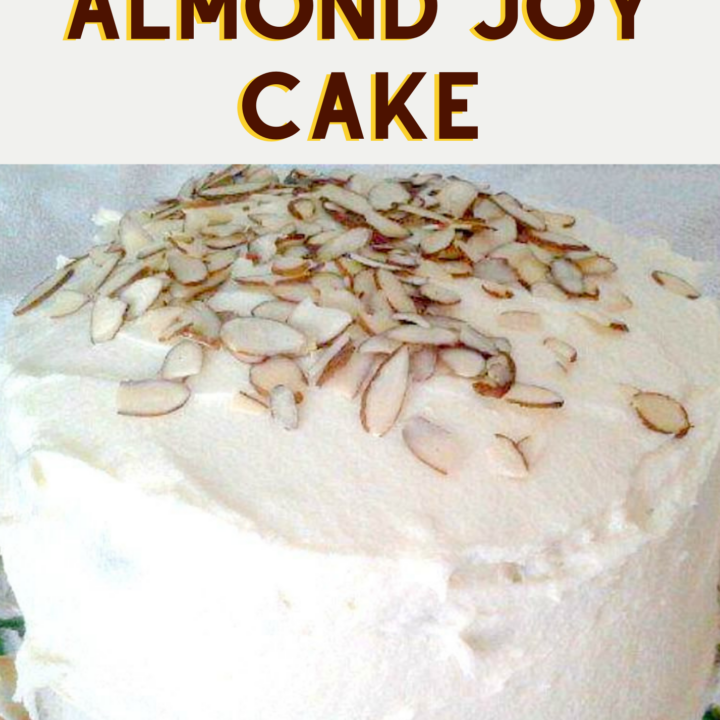 Chocolate Almond Joy Cake, a delicious homemade buttermilk chocolate cake with almond and a whipped cream coconut frosting. An absolutely delicious soft and moist cake recipe