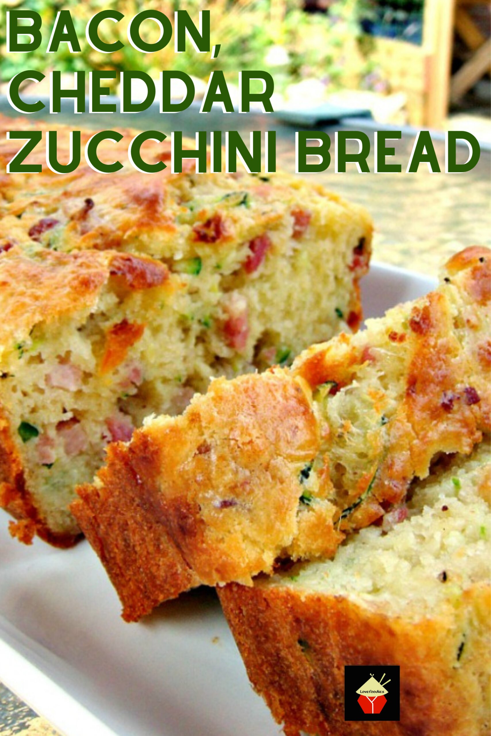 Bacon, Cheddar Zucchini Bread. A wonderful light and fluffy bread with great flavors. Serve warm or cold, it's delicious either way! great for brunches, lunch boxes, parties too!