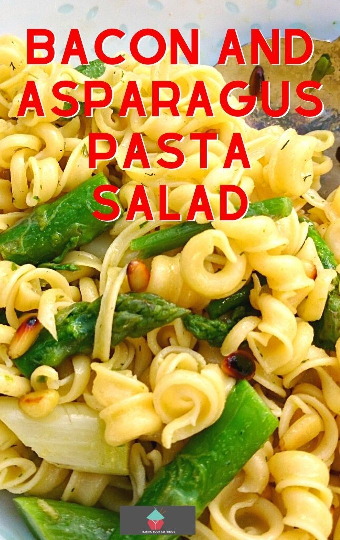 Bacon and Asparagus Pasta Salad is a lovely simple dish, served warm or chilled as a main or side dish. Goes perfect with a BBQ too!