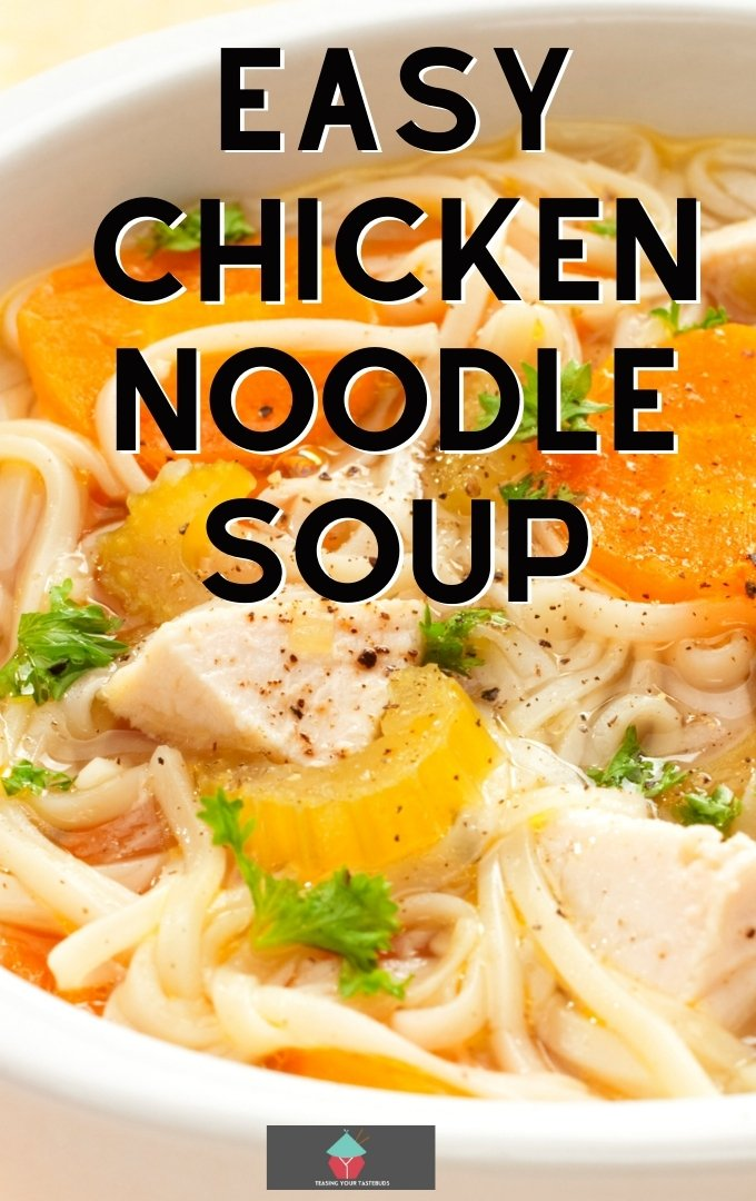 Easy Chicken Noodle Soup. This easy chicken noodle soup is made from scratch using fresh ingredients, full of flavor. Noodles, chicken, potatoes, carrots and celery cooked in a tasty broth