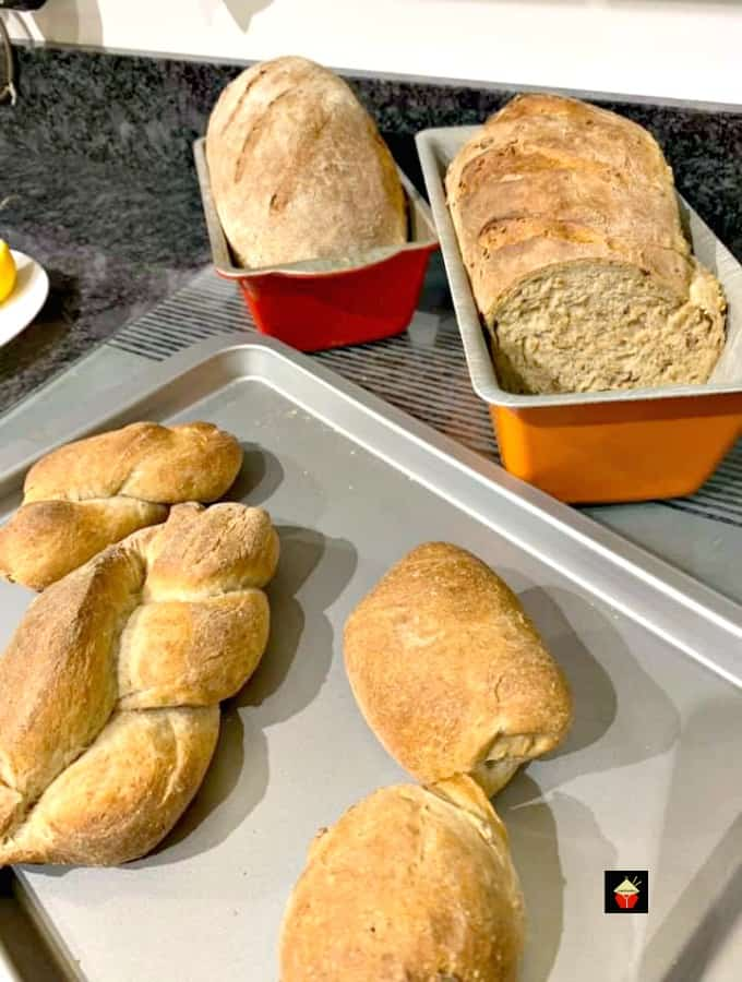 Easy Rye Bread, showing bread in loaf pan and rolls