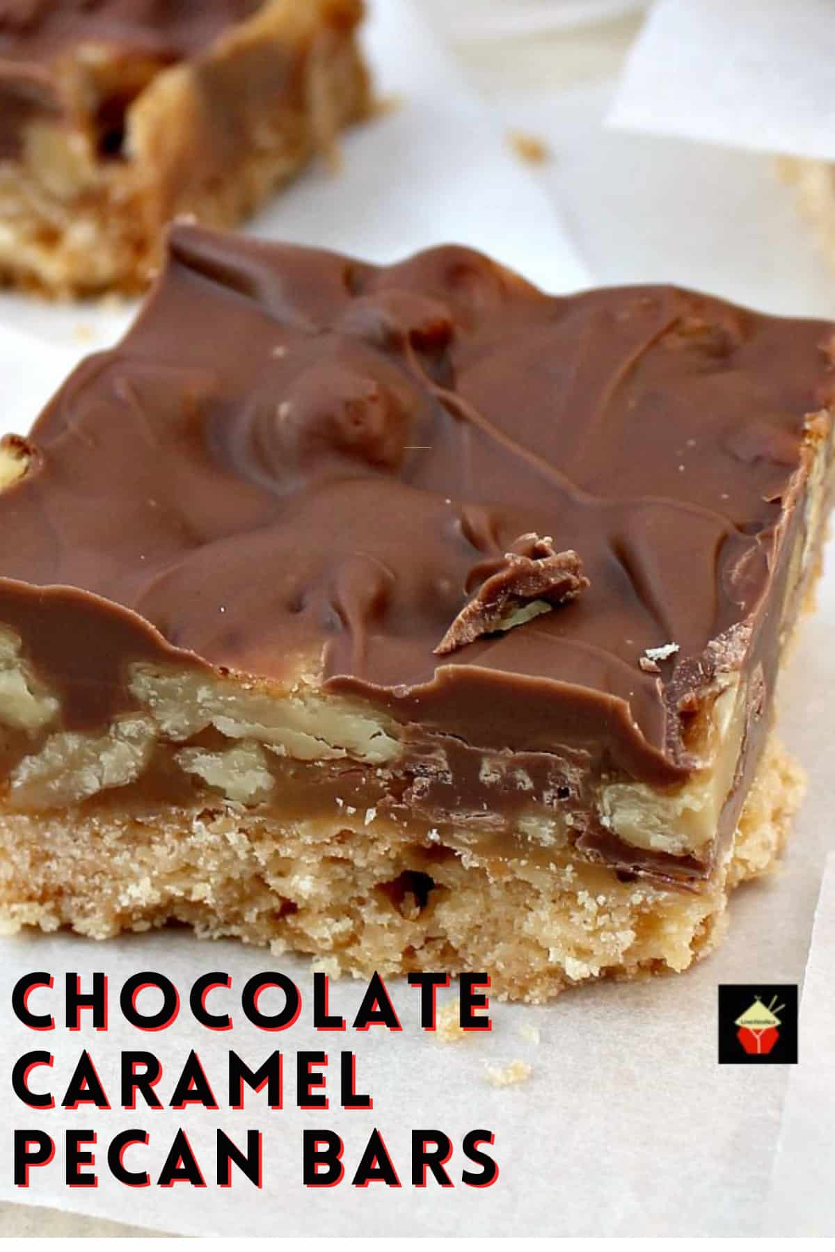 Chocolate Caramel Pecan Bars. These are so addictive! Easy to make and always popular! Flexible so you can use your favorite chocolate, like milk, dark, white and also use whatever nuts you love!