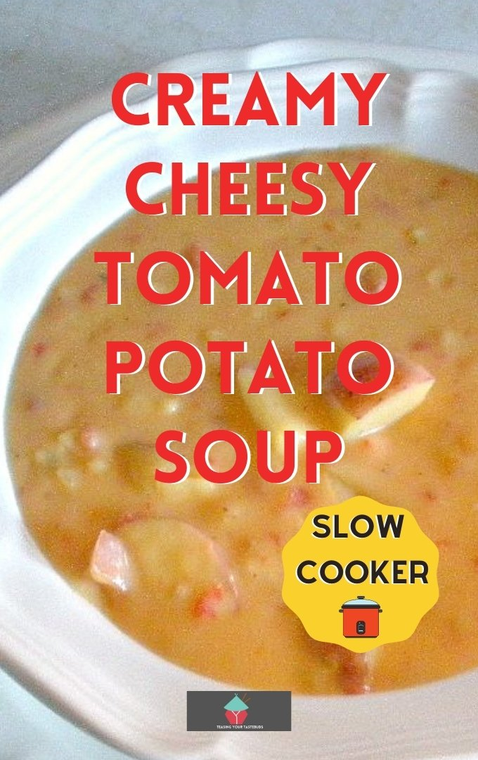 Creamy Cheesy Tomato Potato Soup. This delicious creamy tomato potato soup with cheese is perfect for your slow cooker, full of flavor, easy to prepare and great with homemade bread fresh from the oven!