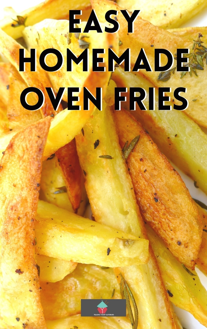 Easy Homemade Oven Fries. Crunchy on the outside, fluffy on the inside! Add your favorite seasonings for this side dish recipe