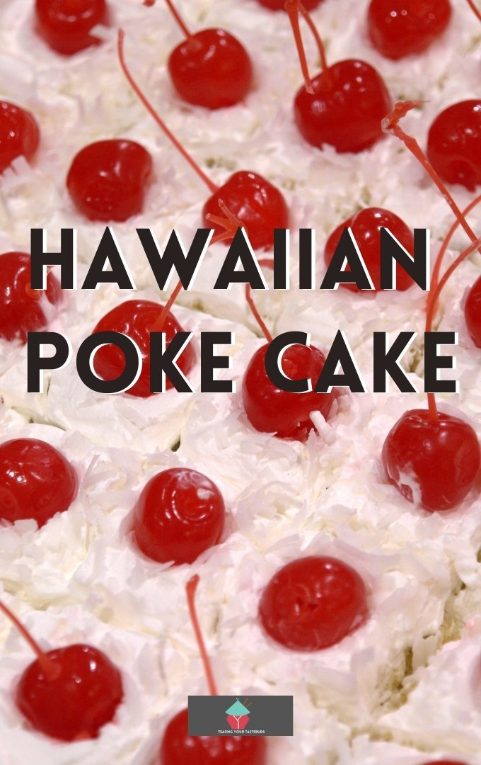 Hawaiian Poke Cake, a delicious soft sheet pan style cake loaded with pineapples, coconut and vanilla with a topping of cherries and walnuts on a cream frosting.