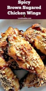 Spicy Brown Sugared Chicken Wings. Deliciously baked wings, coated in brown sugar, baked onions and spices.