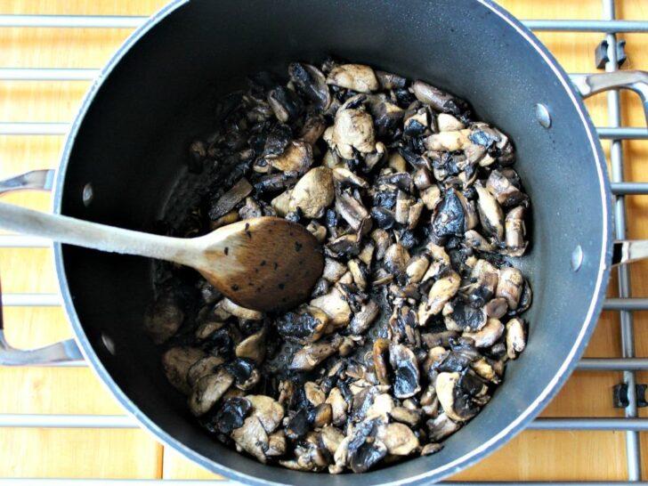 Creamy Mushroom Soup, sauteeing mushrooms