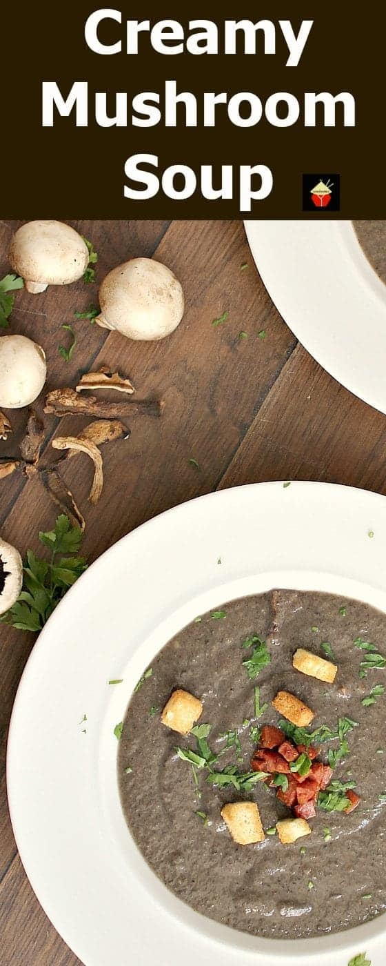 Creamy Mushroom Soup is a lovely easy recipe full of delicious flavors and using fresh ingredients. Delicious served with some warm crusty bread!