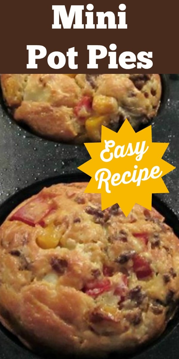Mini Pot Pies with lots of filling suggestions, such as chicken, beefburger, bacon and crab. There's also a homemade Bisquick Mix recipe