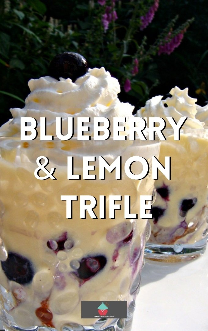 Blueberry and Lemon Trifle. This is just sublime! Layers of fresh Lemon Cake, Creamy Custard and Whipped Cream and of course a generous sprinkling of blueberries throughout.