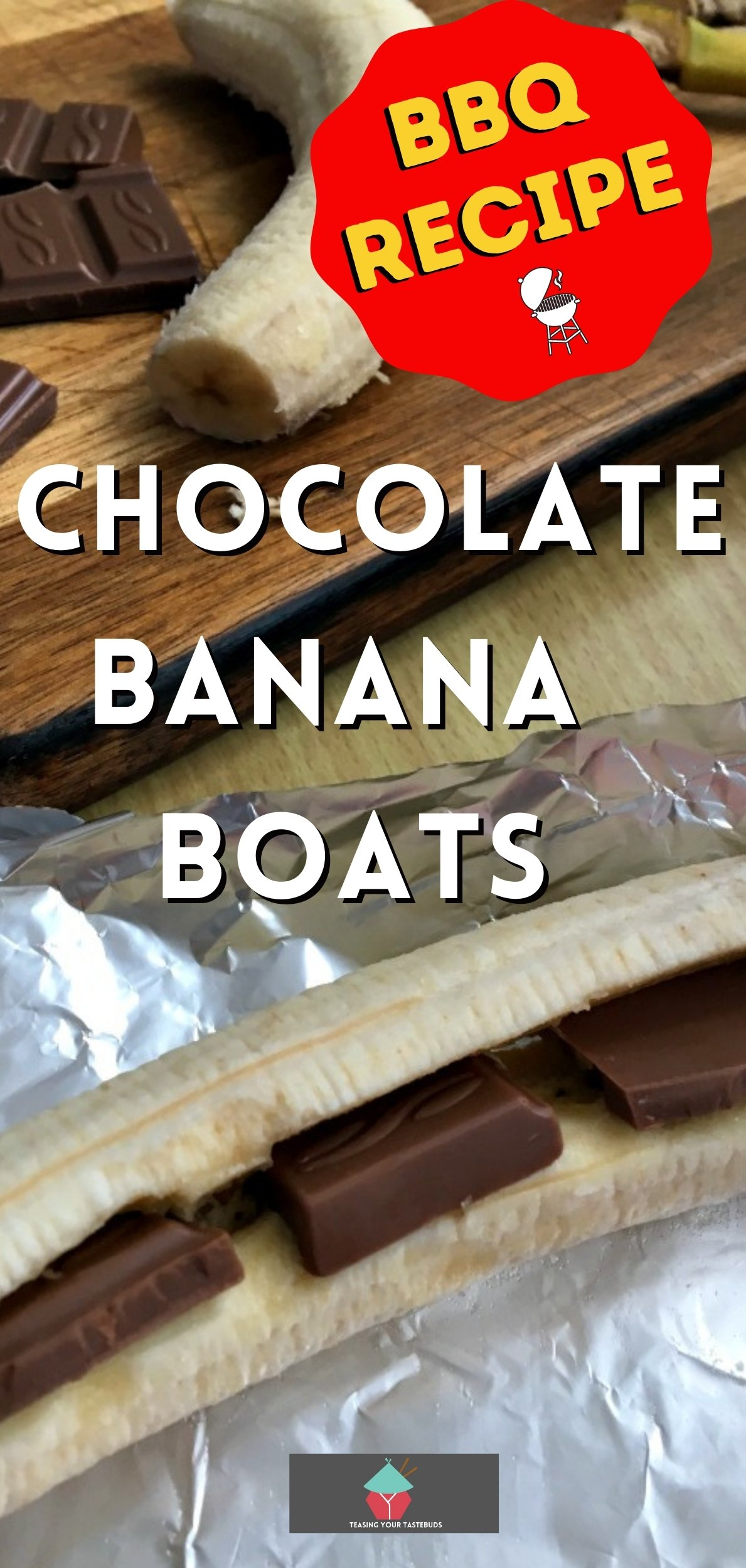 Chocolate Banana Boats are easy chocolate filled bananas, wrapped in foil and grilled. Perfect for camping and BBQ's. Easy recipe with just 2 ingredients