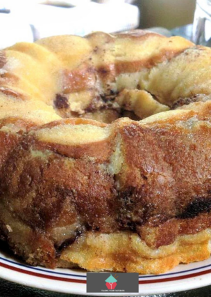 Fluffy Apple Swirl Pudding - A wonderful bread and butter dessert, best served warm with a drizzle of Maple Syrup or a blob of ice cream..or both!