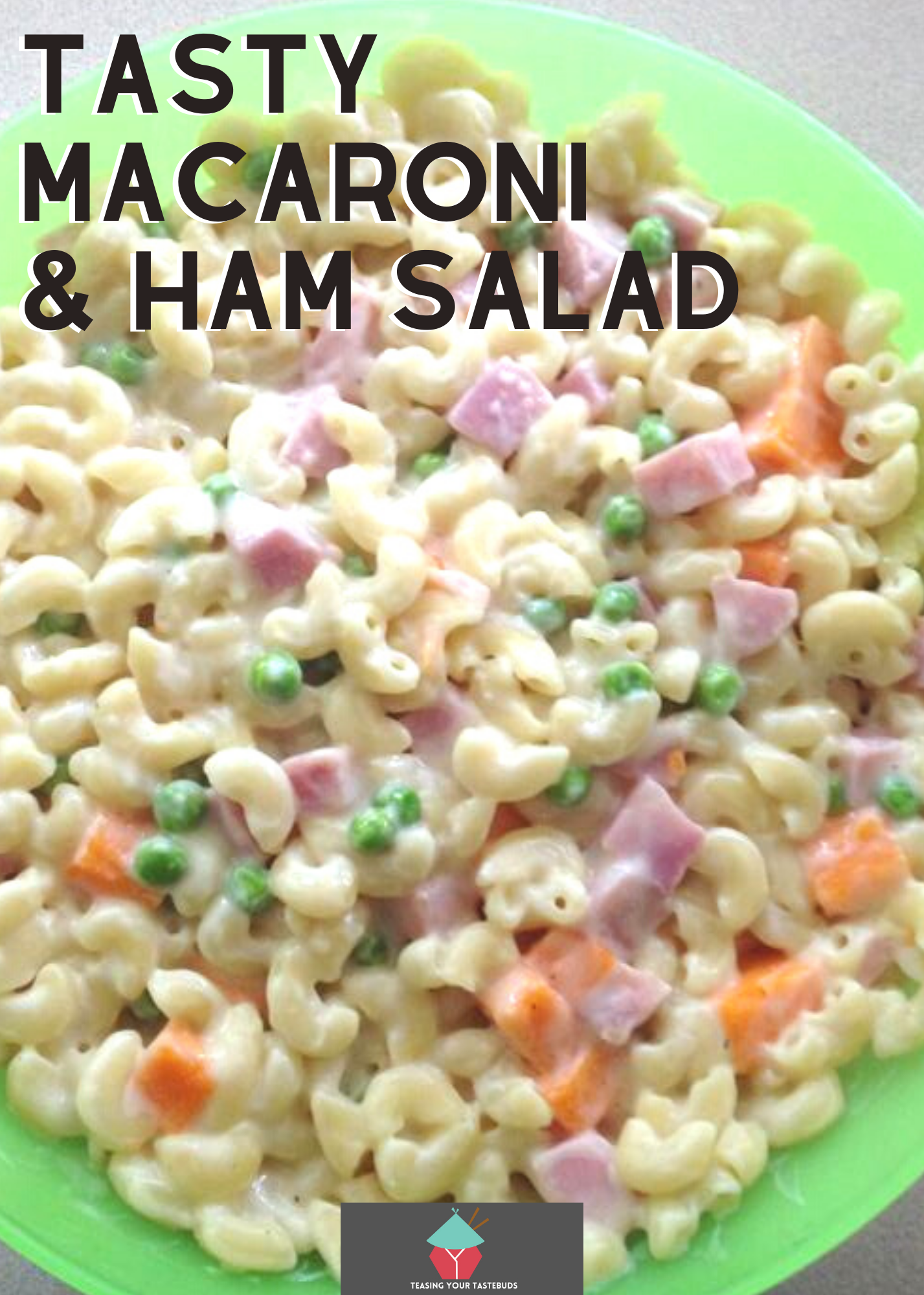 Tasty Macaroni Ham Salad. A simple and delicious recipe for macaroni ham salad, quick and easy to make, ideal as a side dish with a BBQ or main meal. Creamy, full of flavor and easily transportable for picnics too!