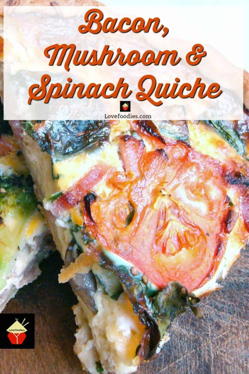 Bacon, Mushrooms & Spinach Quiche, a great recipe suitable for lunches, picnics or dinner!
