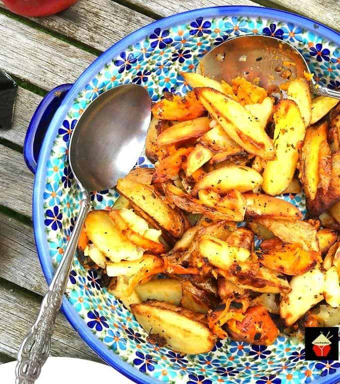 Easy Baked Fries! This is a really easy and delicious side dish, perfect for a snack, parties, BBQ, or a weeknight dinner side dish! Full of flavor and delicious with your favorite dipping sauce! Recipe uses regular potatoes and sweet potatoes for extra flavor and a splash of color to your dish!