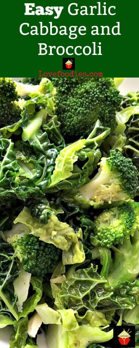 Easy Garlic Cabbage and Broccoli recipe is so delicious! Very quick and easy to do and perfect as a side dish for Thanksgiving or Christmas or indeed any time!