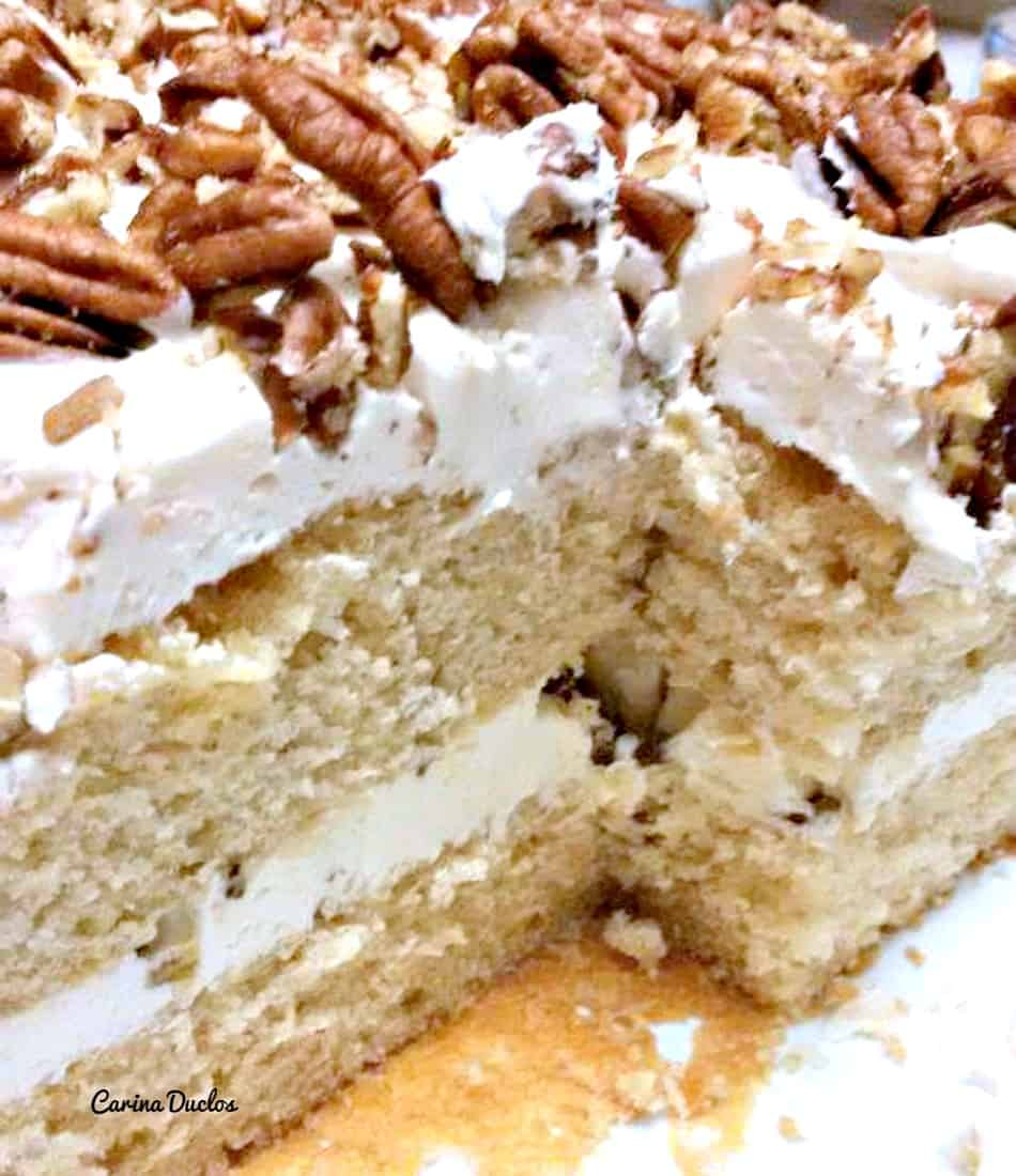 Pecan Maple Cake. This is a lovely, soft, moist cake with delicious pecans and maple syrup. Easy to make and perfect for a celebration!