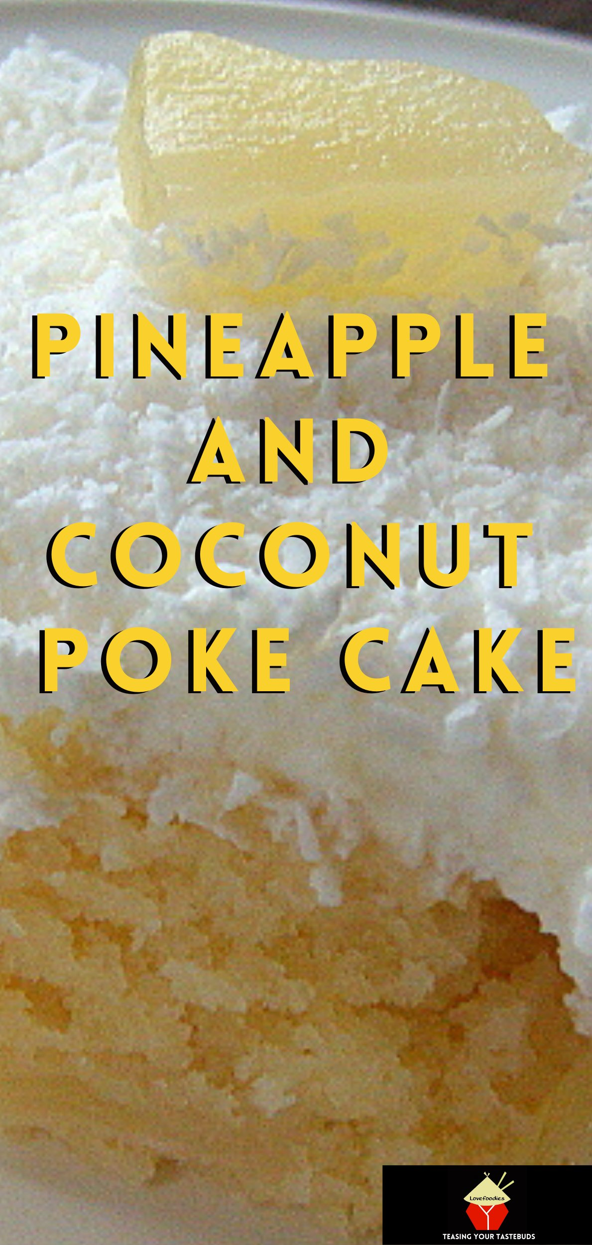Pineapple and Coconut Poke Cake. A delicious pineapple combined with creamy coconut cake recipe, topped with fresh whipped cream and more coconut, making a soft and fluffy great tasting tropical cake