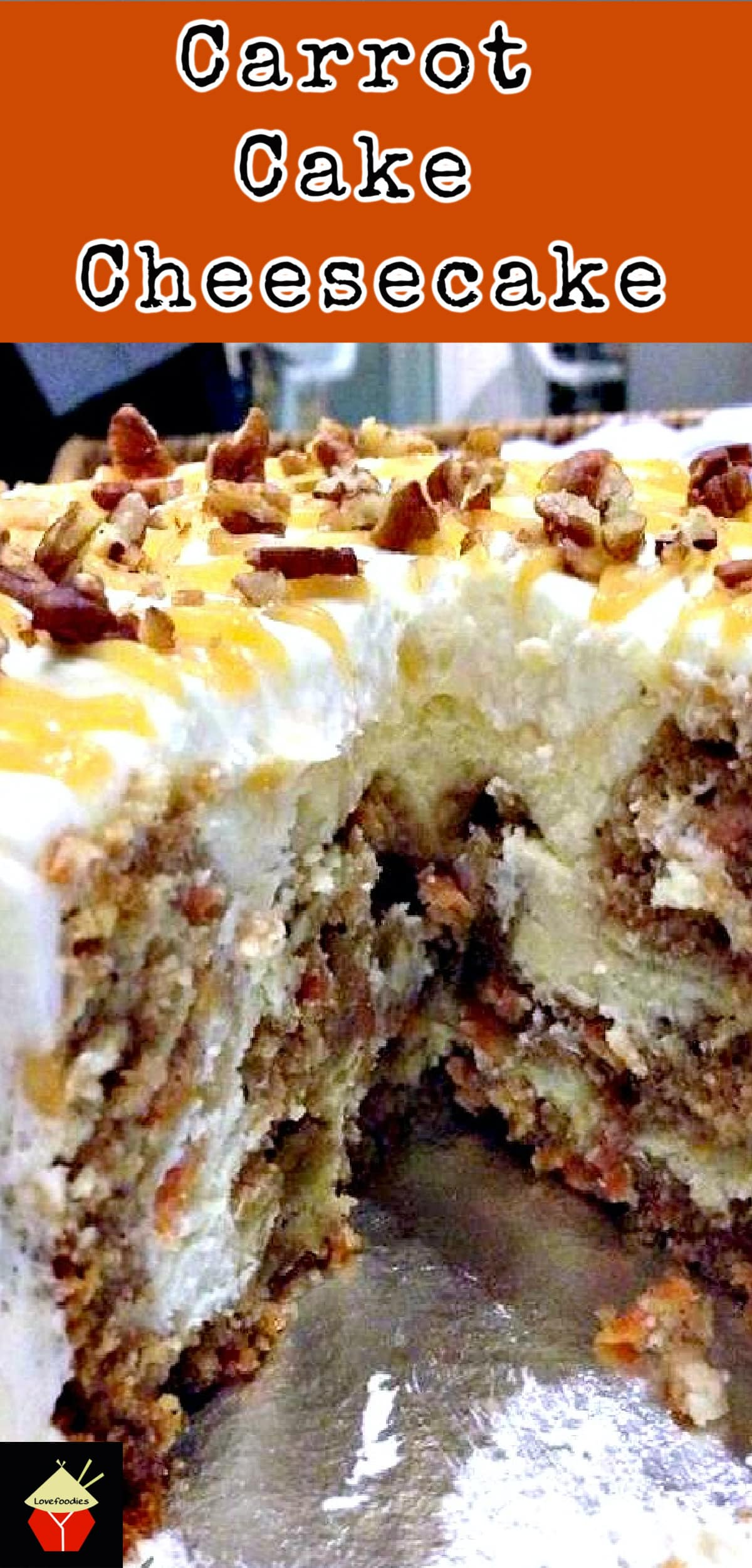 Carrot Cake Cheesecake. Simply a Show Stopping Wow! A great cake for any occasion and would also be a lovely cake for Easter, Christmas or Thanksgiving too!