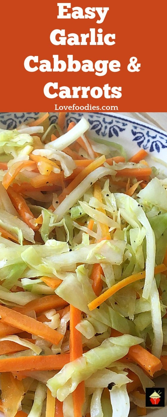 Easy Garlic Cabbage and Carrots is a lovely side dish, perfect with a roast dinner or part of a winter meal, Thanksgiving or Christmas. Possible to make ahead too!#cabbage #carrots #Thanksgiving #sides #winter
