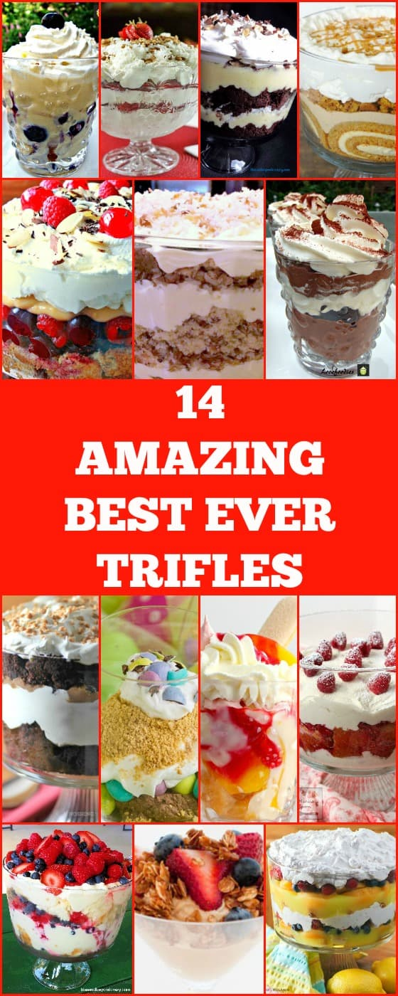 14 Amazing Best Ever Trifle recipes perfect for the holidays, Thanksgiving, Christmas. Easy to make and very popular #Christmas #thanksgiving #Trifle #dessert