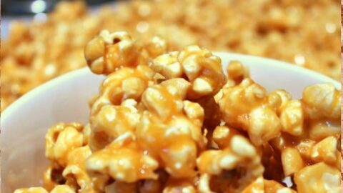 Salted Caramel Cashew Nut Popcorn. A delicious combination of salt and caramel coating homemade popcorn. Easy recipe for popping corn