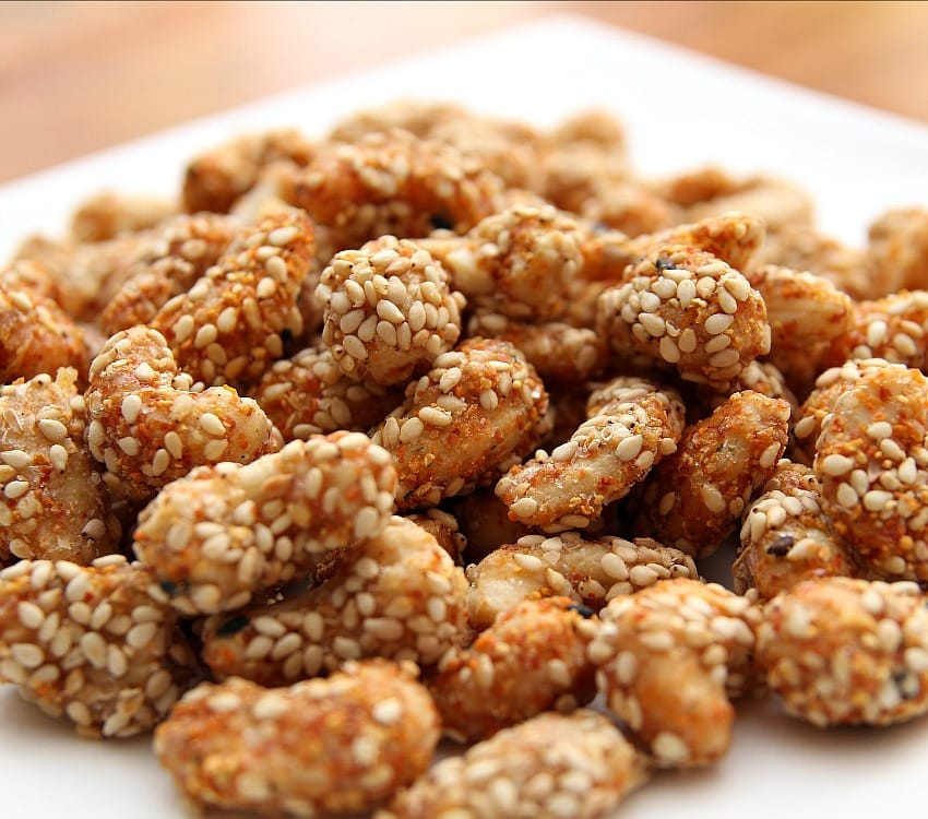 Sesame Sugar Coated Cashews. These are delicious served warm! The sugar coating along with the sesame and other spices makes for a lovely flavor. Recipe also has other flavor suggestions for you to try so make up a batch soon!