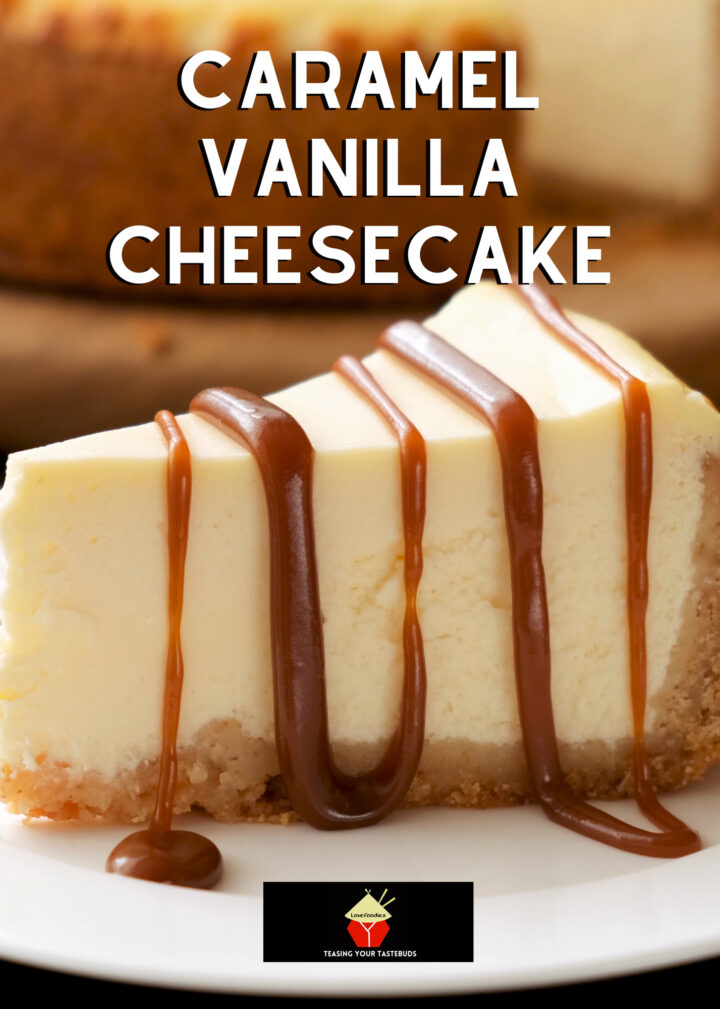 Caramel and Vanilla Cheesecake. A rich, smooth, and creamy baked classic vanilla cheesecake with drizzles of caramel. Easy made from scratch recipe