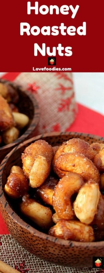 Honey Roasted Nuts, a delicious easy snack, perfect for parties and gifts too! Seasoned with honey and cinnamon with a pinch of salt for a great taste.