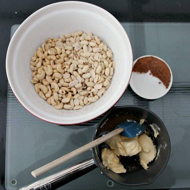Honey Roasted Nuts, ingredients prepared