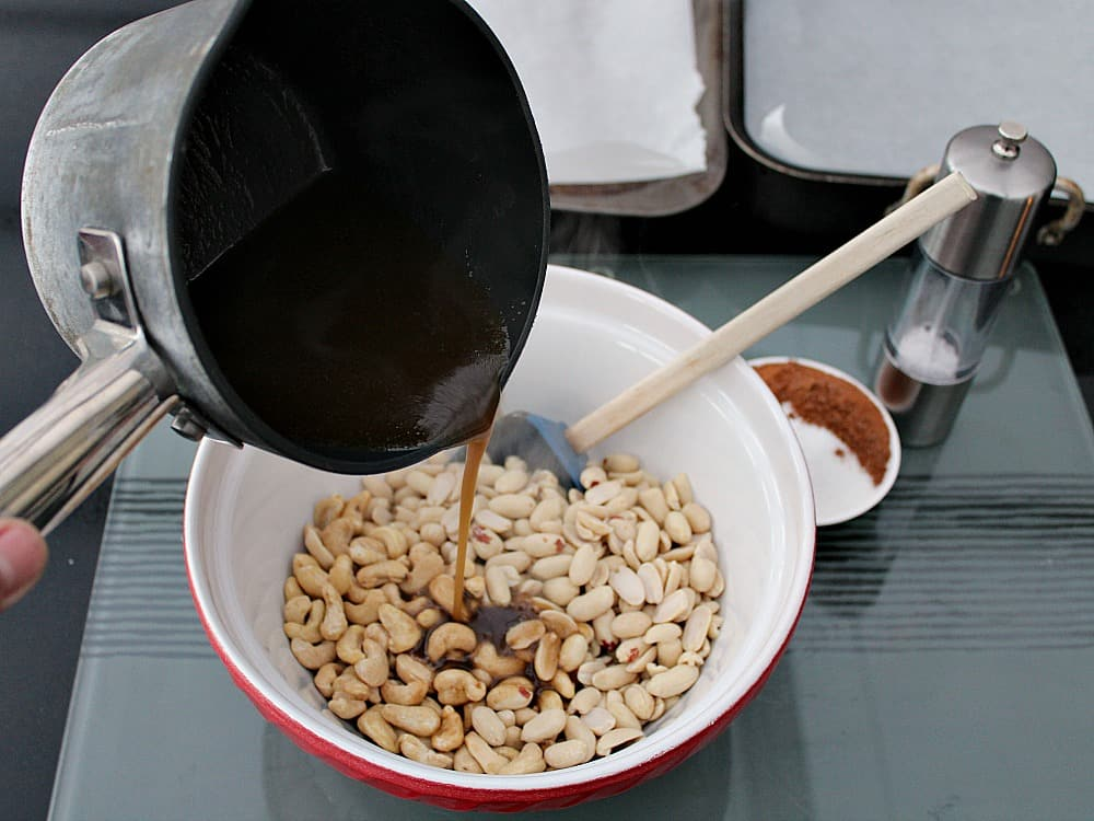 Honey Roasted Nuts, combine honey mixture with nuts