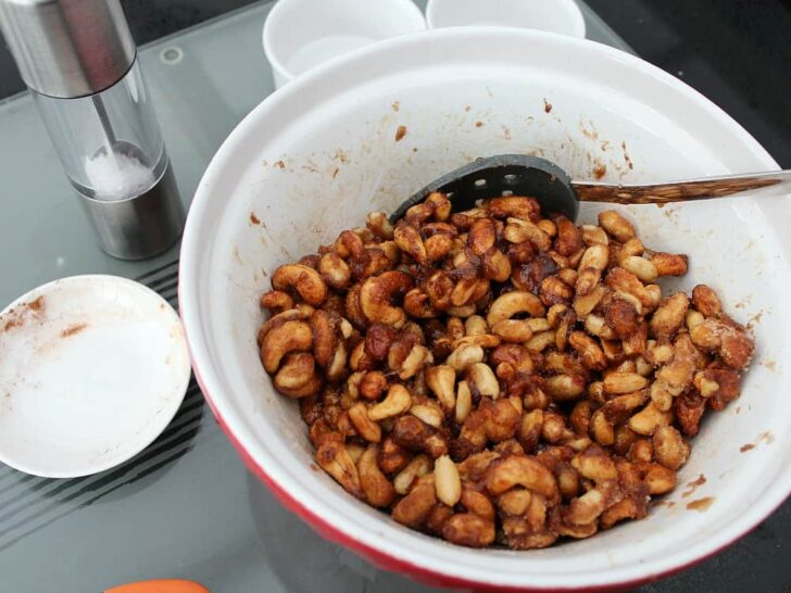Honey Roasted Nuts, adding sugar and spices