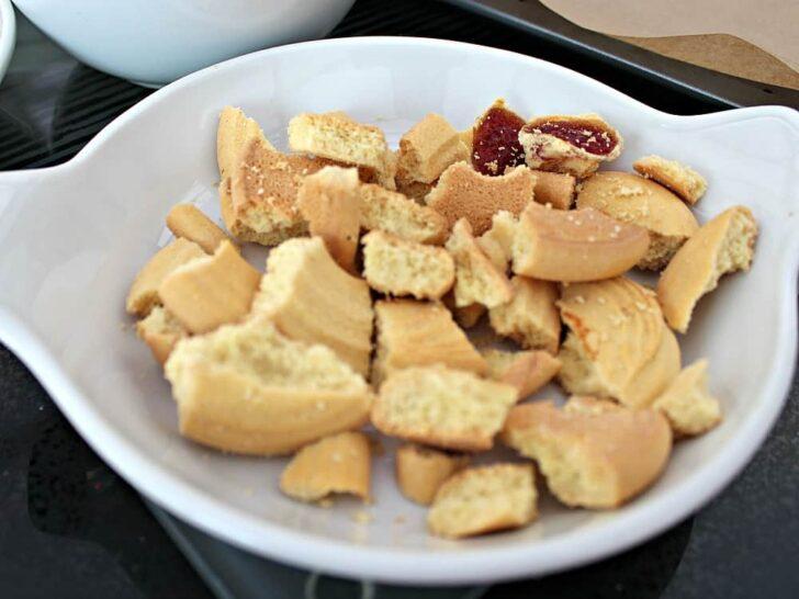 Irish Cream Chocolate Bark, breaking up cookies