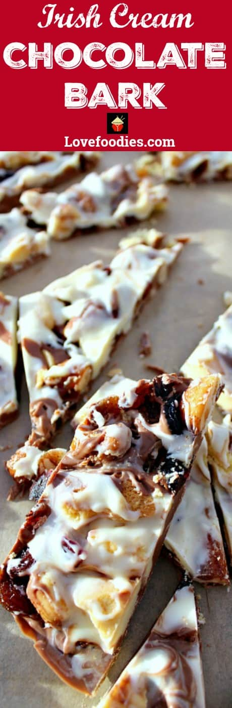 Irish Cream Chocolate Bark! A delicious chocolate treat loaded with cranberries, cookies and honey spiced nuts. Perfect for the holidays and great for gifts. #chocolate #Christmas #gifts #sweets