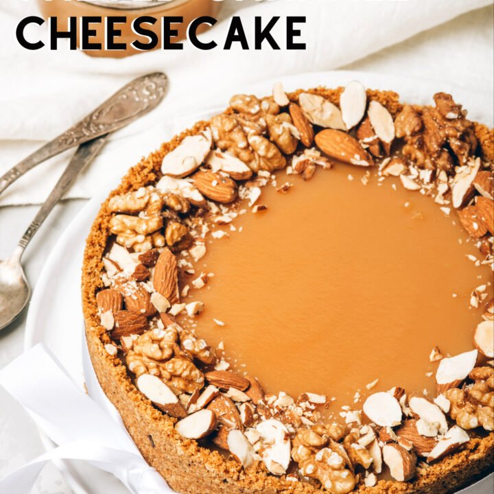 White Chocolate Salted Caramel Cheesecake is a delicious baked cheesecake, rich and creamy with a white chocolate filling and a salted caramel topping. Easy to make.