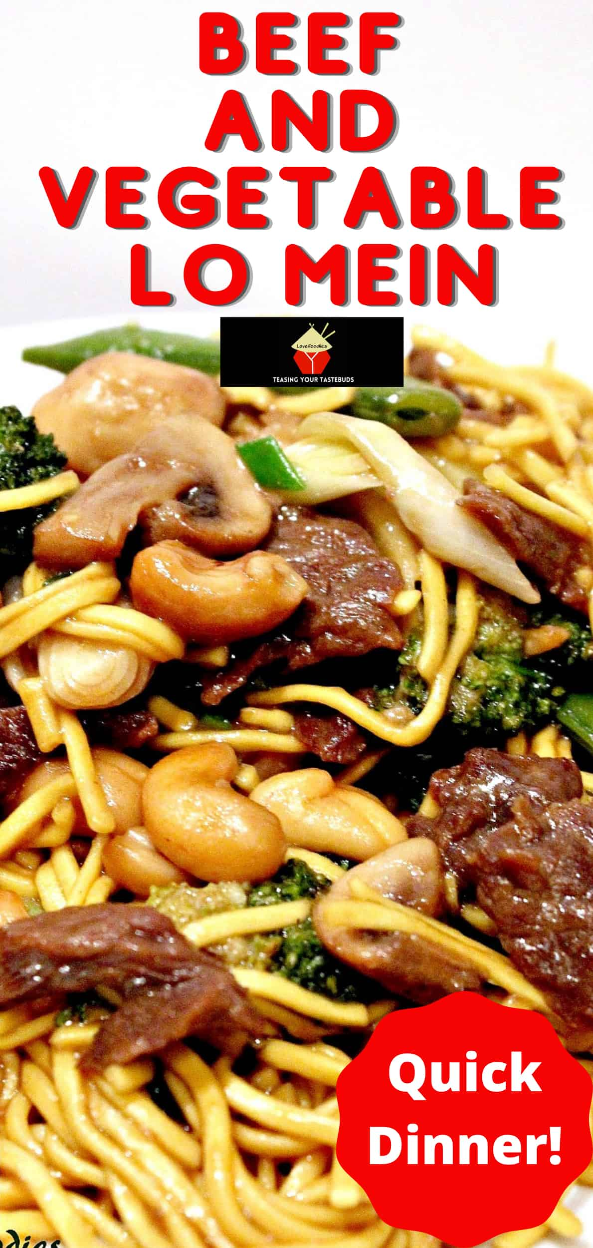Beef and Vegetable Lo Mein. A quick and easy Chinese recipe using fresh ingredients. Tender beef, crisp vegetables and egg noodles all coated in a delicious Oriental sauce.