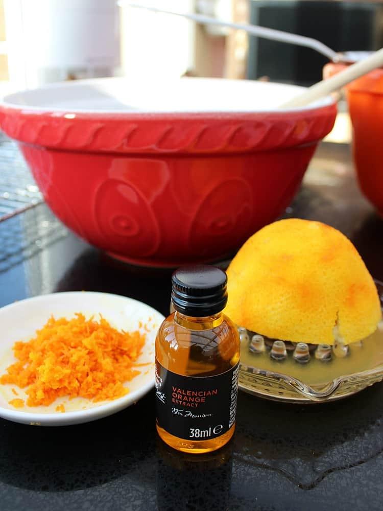 Orange ingredients for Grandma's War Time Orange Drop Cookies