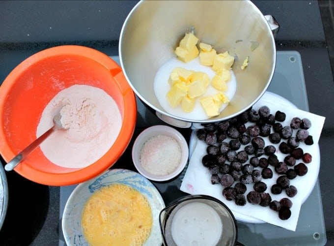 Coconut Cherry Cake showing ingredients