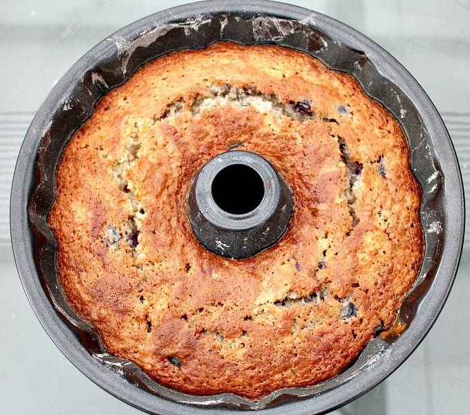 Coconut Cherry Cake showing cake after baking