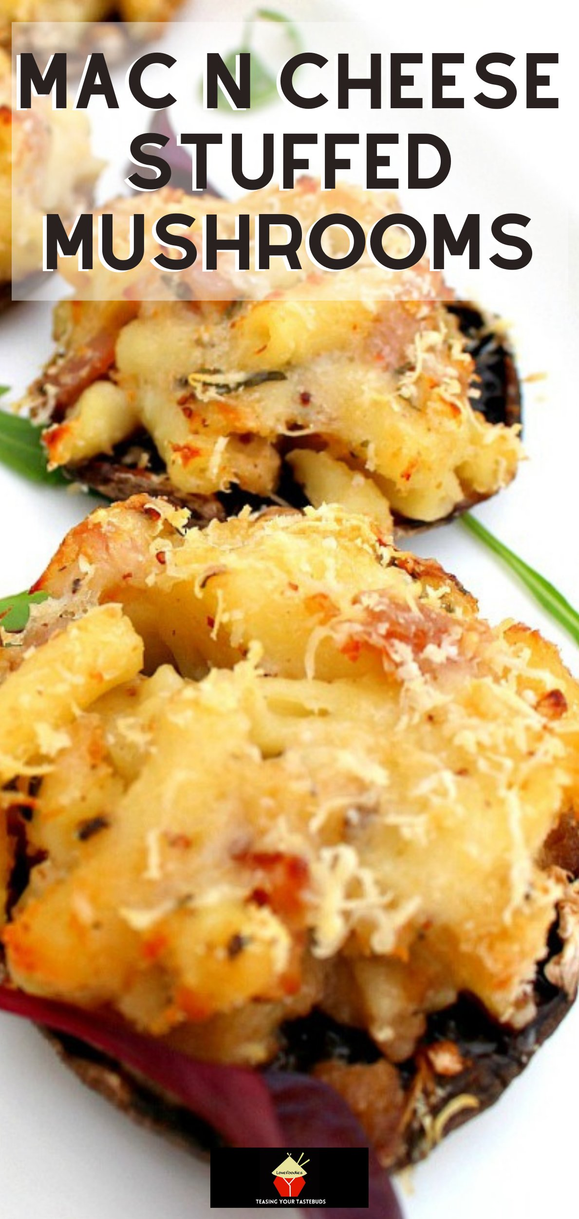Mac N Cheese Stuffed Mushrooms is so delicious! Easy to make and great for parties or as an appetizer. Baked mushrooms stuffed with creamy macaroni and cheese filling with bacon too!