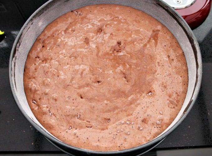 Authentic German Black Forest Cake - Schwarzwalder Kirschtorte, transfer to baking pan