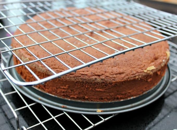 Authentic German Black Forest Cake - Schwarzwalder Kirschtorte, allow to cool in pan