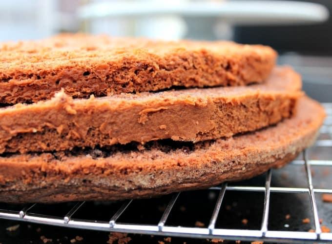 Authentic German Black Forest Cake - Schwarzwalder Kirschtorte, slice in to 3 layers