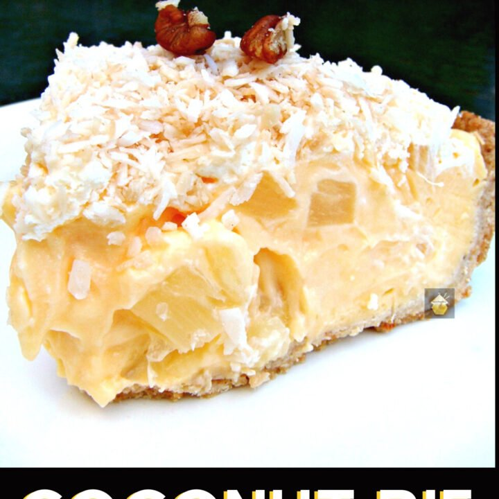 This Tropical Coconut Pie is made up of a crispy buttery pastry case, filled with delicious creamy coconut custard, and laced throughout with juicy pineapple chunks.
