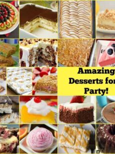Amazing Desserts for a Party! A great selection of easy desserts, suitable for Tailgating, Memorial Day, July 4th, Game Day, picnics, BBQ's, potlucks, outdoor eating, summer food, New Year's Eve buffet, Wedding food and much more!