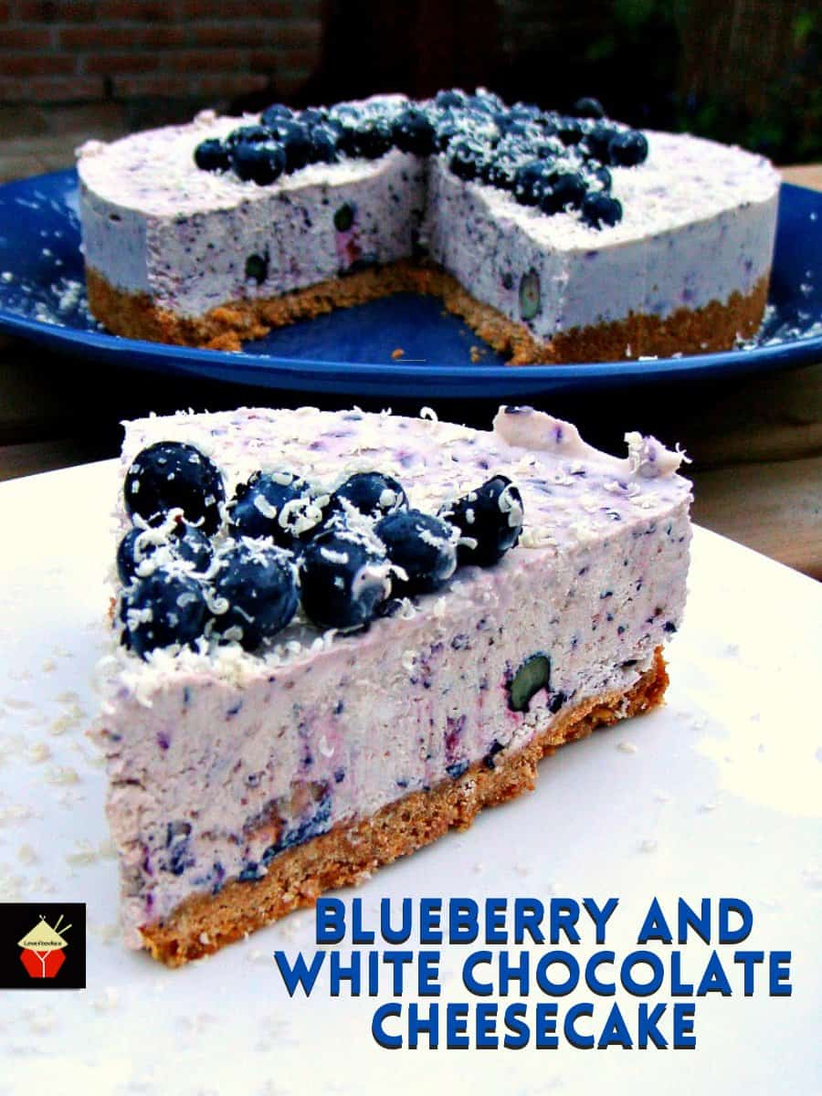 Blueberry and White Chocolate Cheesecake. An easy No-Bake dessert with bursts of blueberries and a hint of white chocolate in every bite. Delicious!