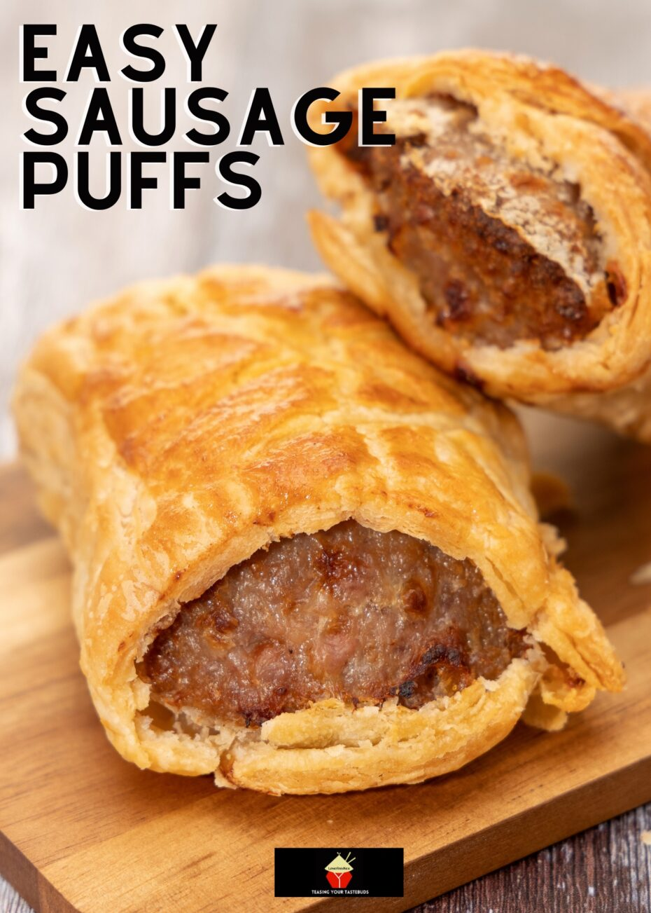 Easy Sausage Puffs, deliciously seasoned sausage meat wrapped in crispy puff pastry and baked. Easy recipe, great for parties, lunch boxes, picnics. Eat warm or cold, they're so tasty!